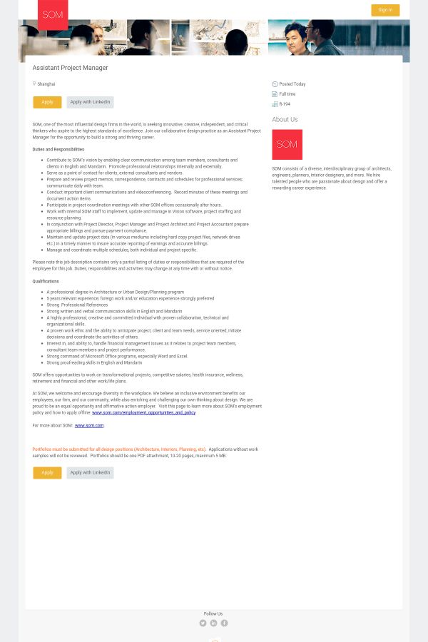 Assistant Project Manager job at SOM in Shanghai, China | Tapwage ...