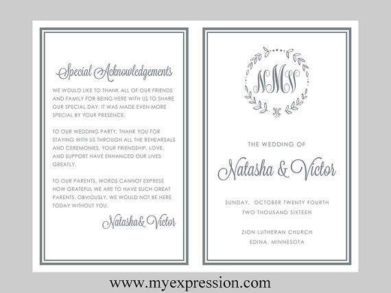 DIY Wedding Program Template (BiFold)– Gray Monogram Leaf ...