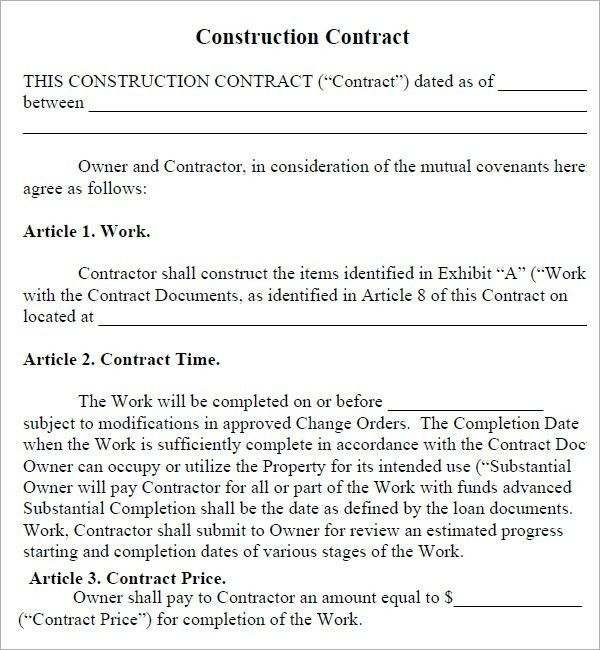 10 Best Images of Simple Construction Contract Agreement Templates ...