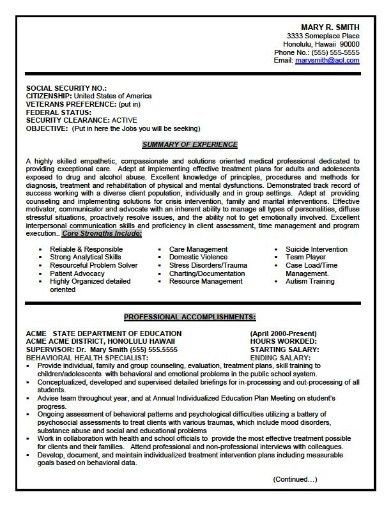 Federal Resume Examples. Resumes For Federal Jobs Federal Resume ...