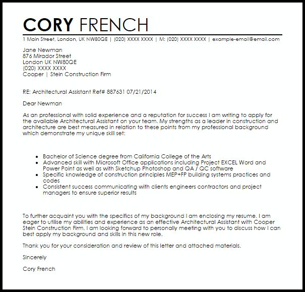 Architectural Assistant Cover Letter Sample | LiveCareer