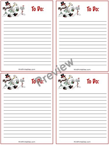 Printable Christmas Holiday To Do List