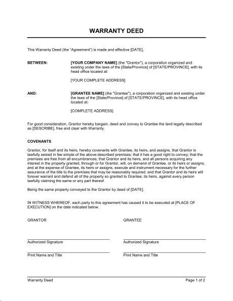 Warranty Deed - Template & Sample Form | Biztree.com