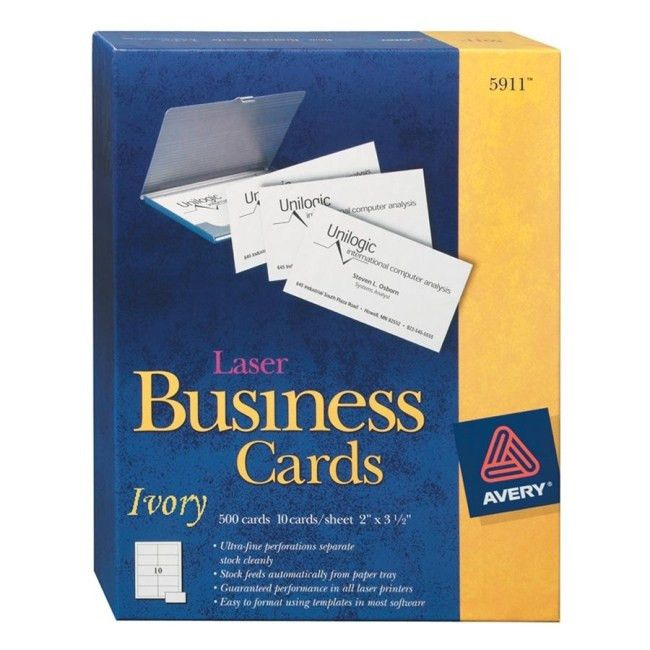 Avery Perforated Business Cards - Ivory - 250 / Pack - Quickship.com