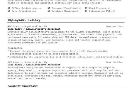Mail Clerk Skills Resume - Reentrycorps