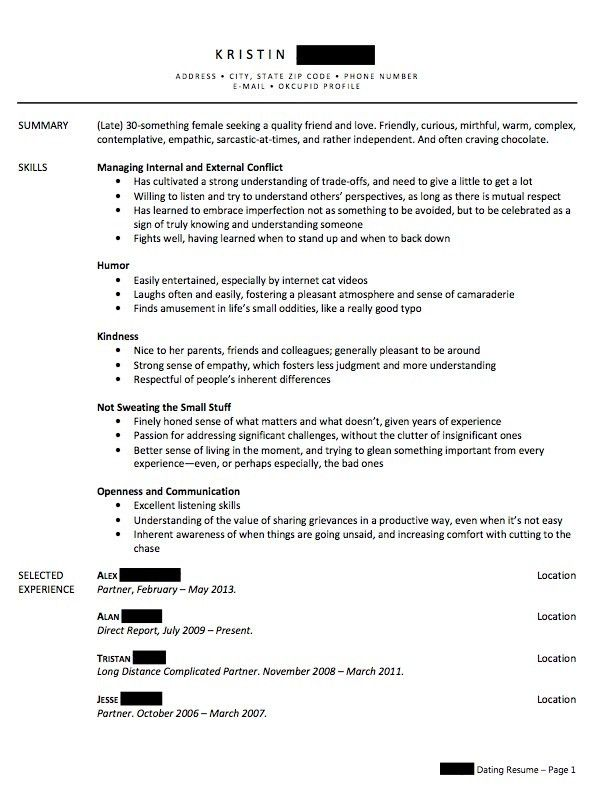 Write a Relationship Resume to Combat Your Single Shame - Sasha ...