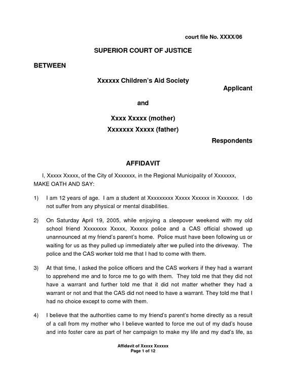 I 751 Affidavit Letter Sample | Balolymyku – Sworn Affidavit ...