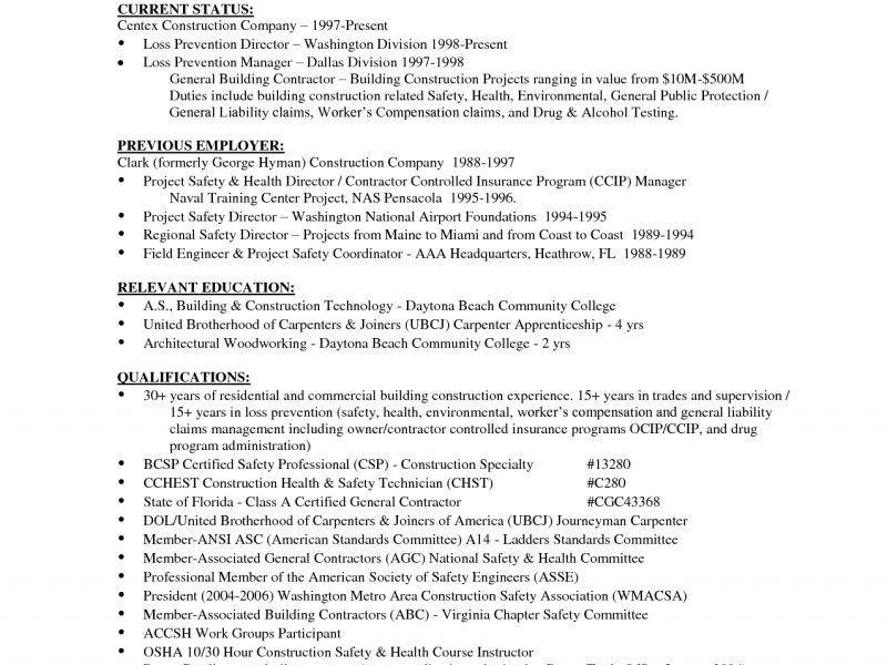 Resume For Construction Worker - Resume CV Cover Letter