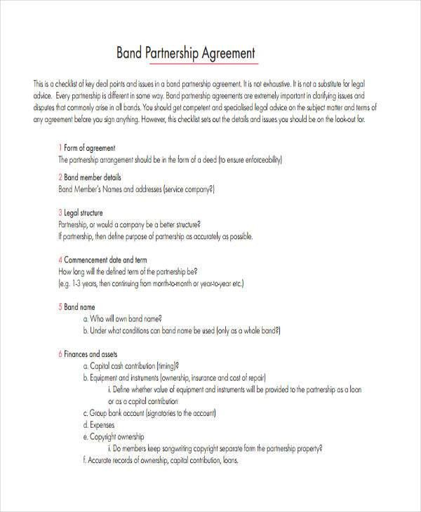 Partnership Agreement Contract. Restaurant Partnership Agreement ...