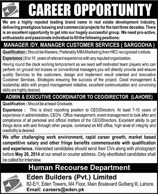 Eden Builders Jobs 2014 May for Customer Service Manager ...