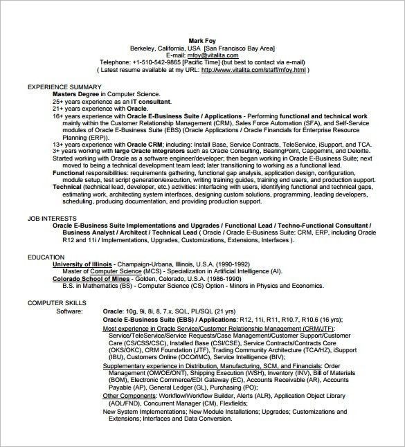 oracle business analyst resumes