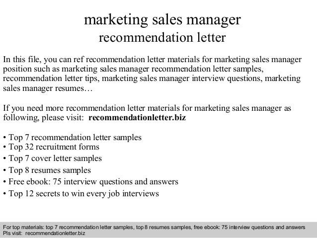 Marketing sales manager recommendation letter