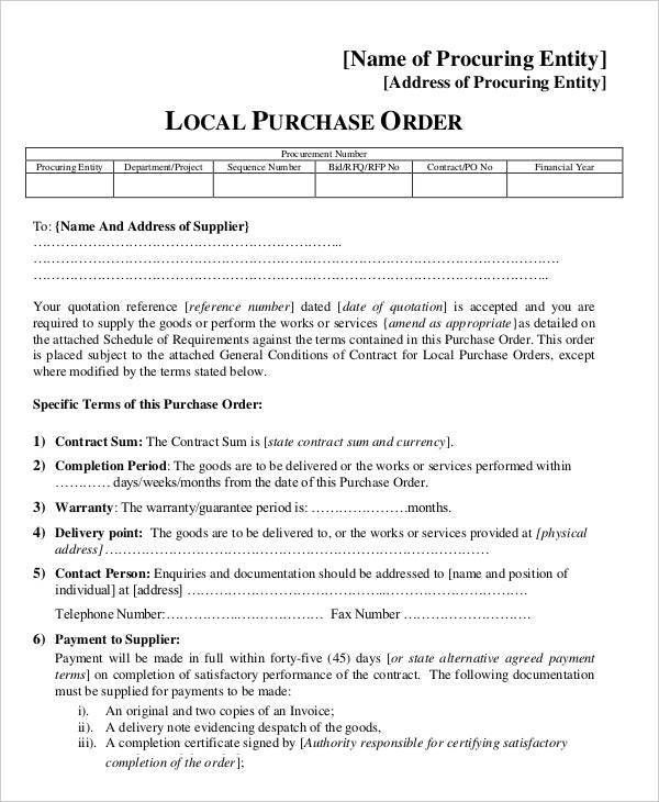 15+ Purchase Order Templates | Free & Premium Templates