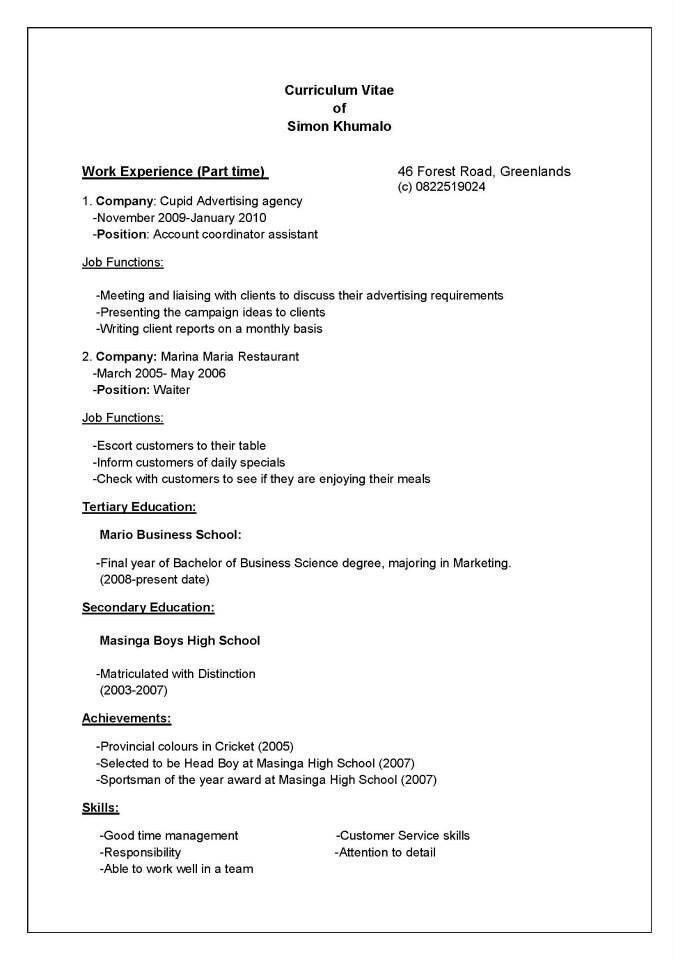 How To Write Resume 14 Stupendous A For The First Time 8 ...