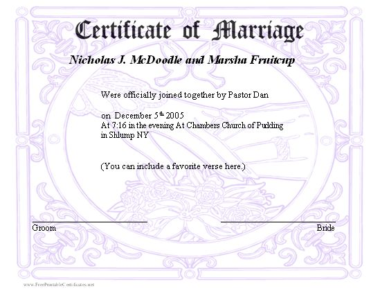 A marriage certificate with a subtle design in the background ...