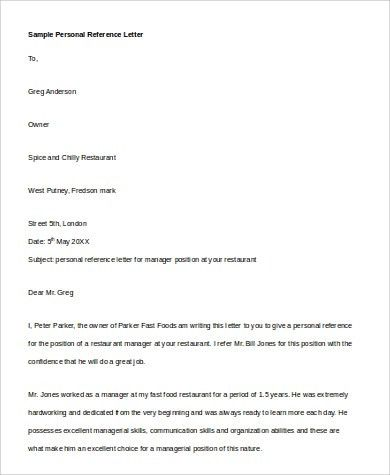 Personal Reference Letter Examples - 6+ Samples in PDF, Word