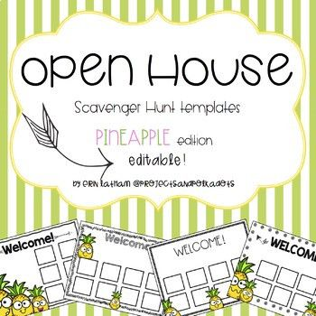 Open House Scavenger Hunt Templates: Pineapples by Projects and ...