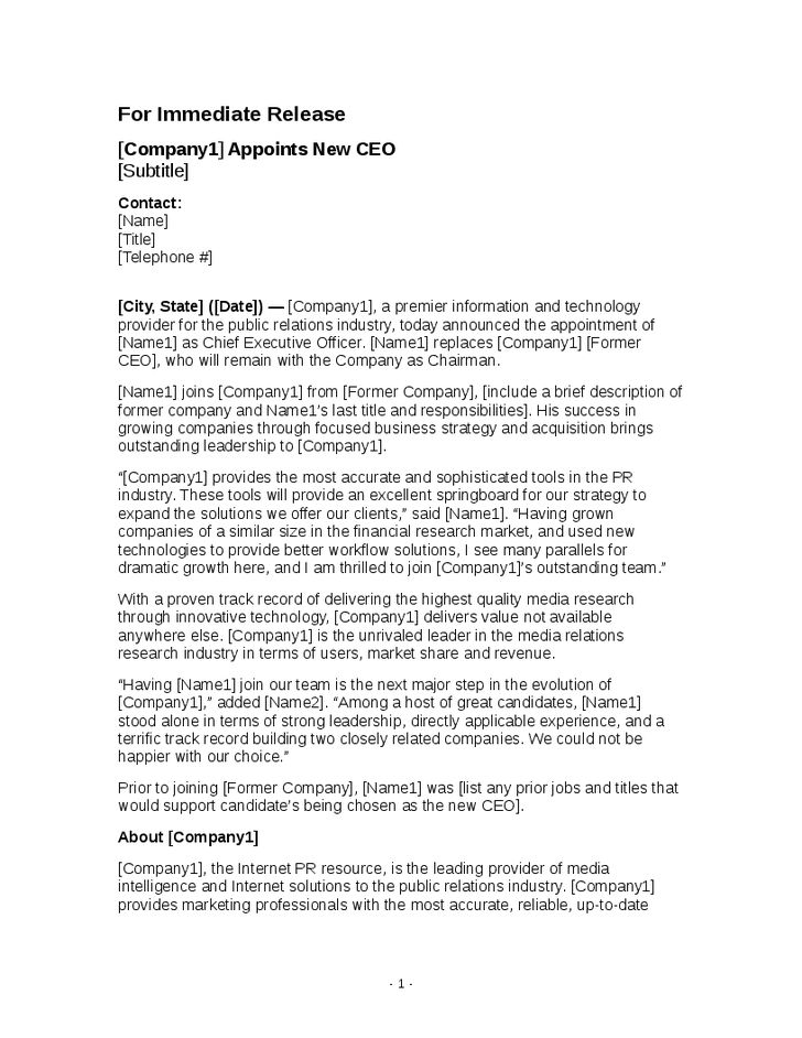 Sample New CEO Announcement - Hashdoc