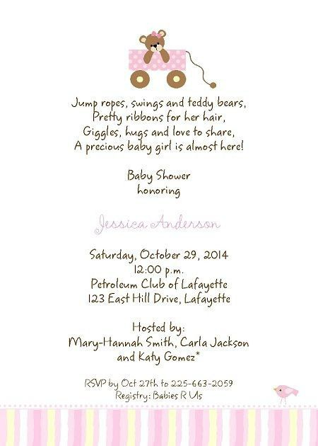 Baby Girl Shower Invitation Wording | christmanista.com