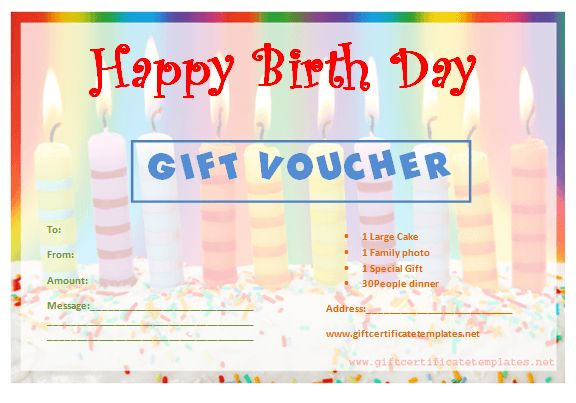Candle Birthday Gift Certificate Template - Gift Certificates