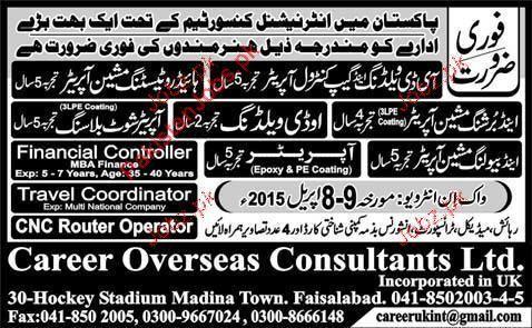 Financial Controller, Travel Coordinator, CNC Router Operator ...