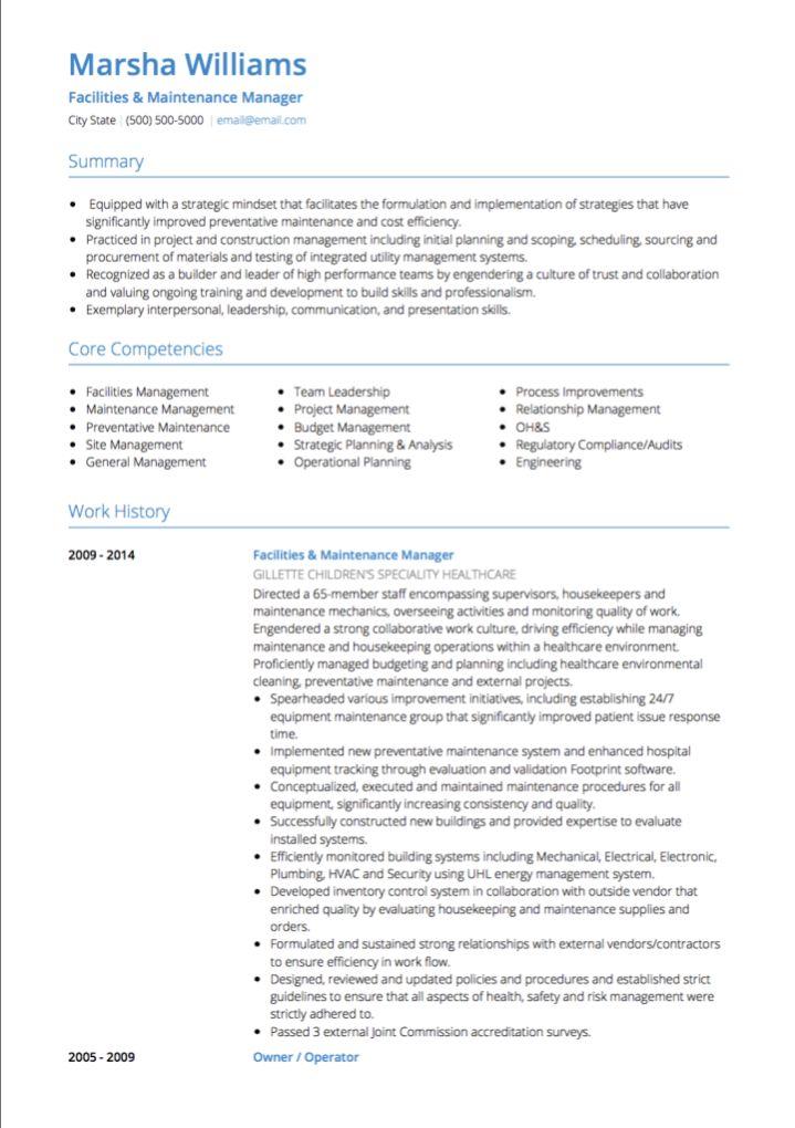 maintenance manager resume maintenance manager resume example job