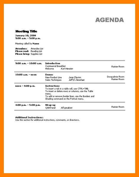 4+ sample agenda formats | hostess resume
