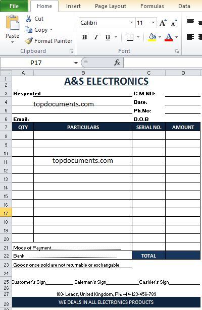 Cash Memo Format of Electronics Shop in Excel – Top Docx