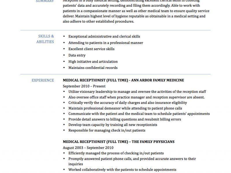 Vibrant Ideas Medical Secretary Resume 7 Medical Receptionist ...