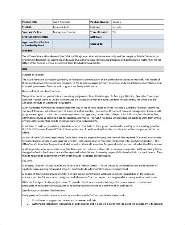 Sample Auditor Job Description - 10+ Examples in Word, PDF