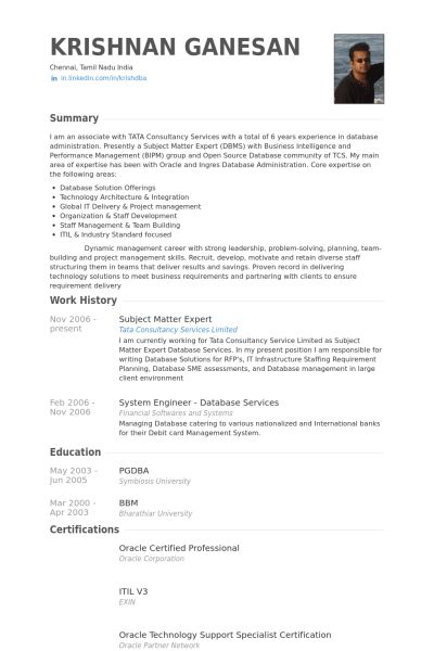 Subject Matter Expert Resume samples - VisualCV resume samples ...