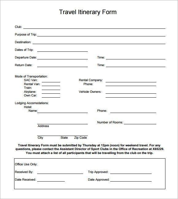 Sample Holiday Itinerary Template - 7+ Documents Download in Word ...