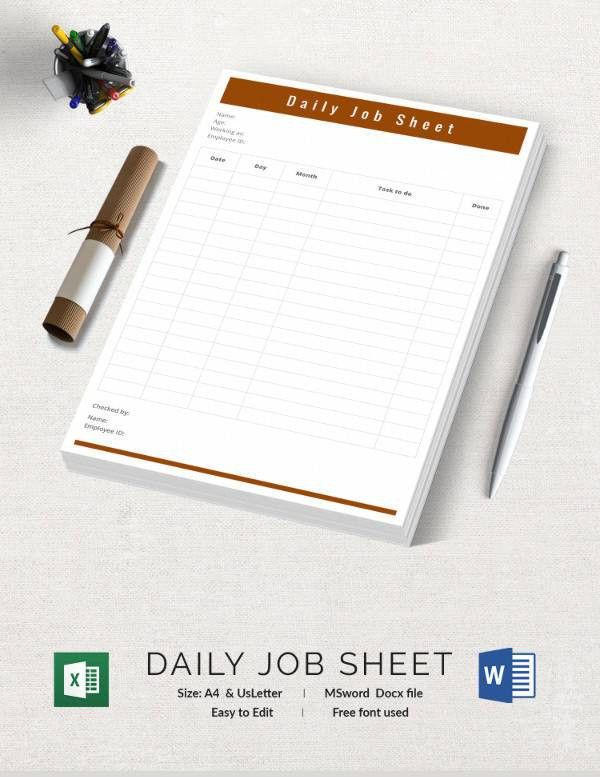 free job sheet template