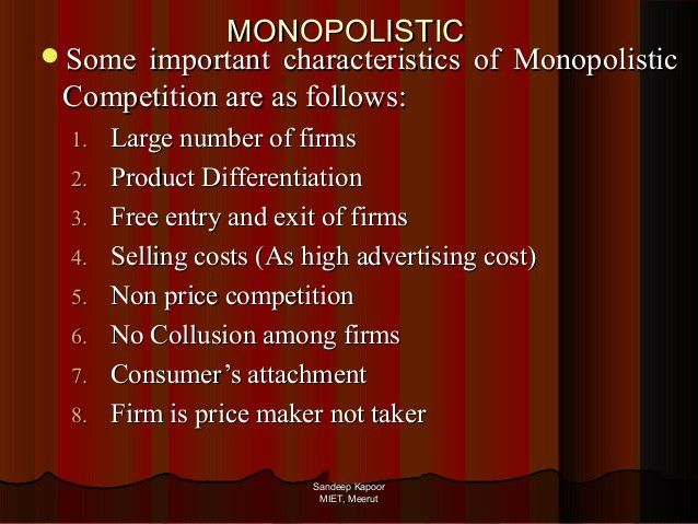 perfect competition, monopoly, monopolistic and oligopoly