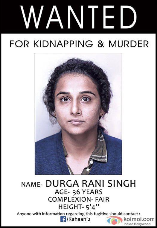 Teaser Poster Of Kahaani 2 | Featuring 'Wanted' Vidya Balan - Koimoi