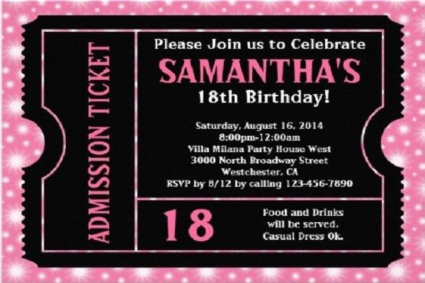 18th Birthday Invitations Templates