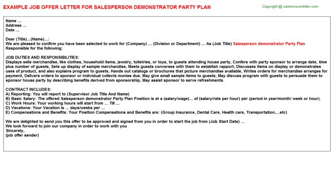Party Plan Salesperson Demonstrator Offer Letters