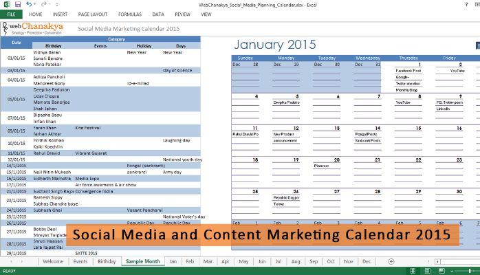 Download FREE 'Social Media Management Calendar' template for 2015 ...