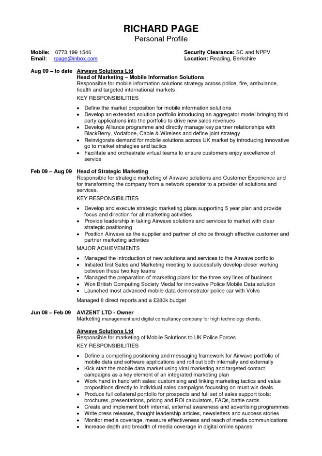 Personal Statement In Resume - Resume Sample