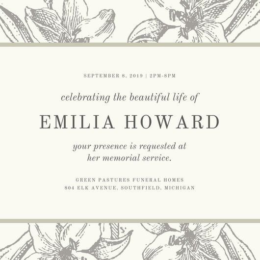 Grey Sketch Floral Funeral Invitation - Templates by Canva