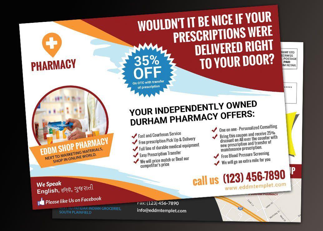 Pharmacy Marketing EDDM Postcard Template Download
