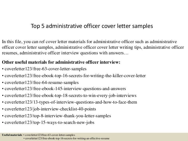 administrative officer cover letter