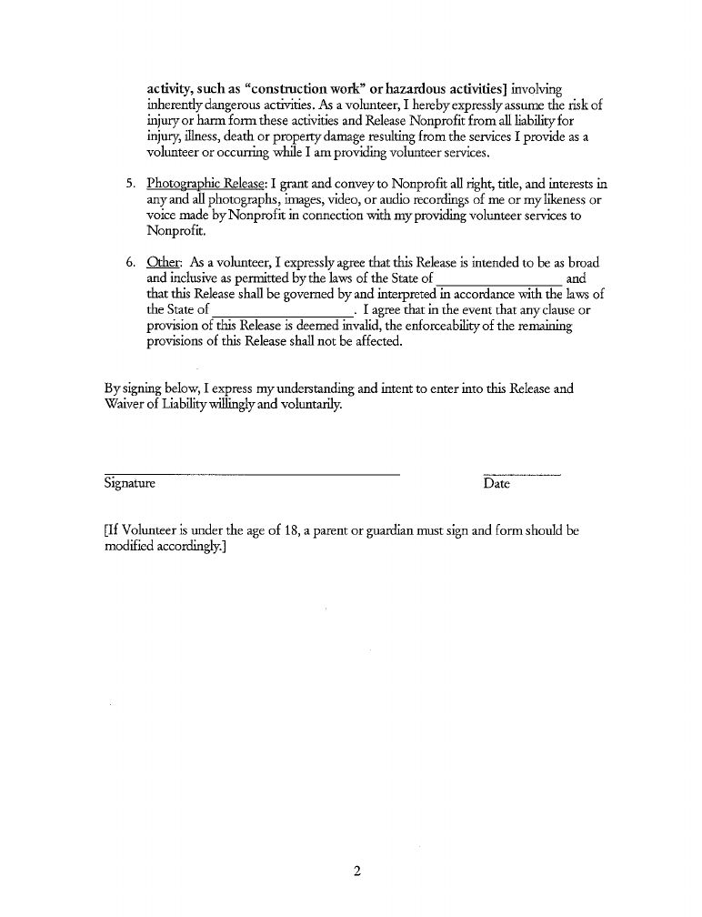 Volunteer Release and Waiver of Liability Form Free Download
