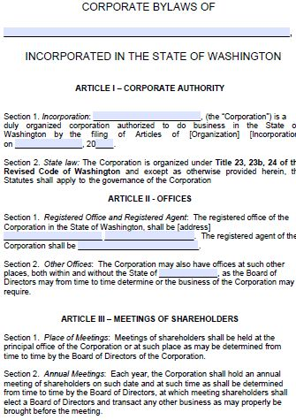 Free Washington Corporate Bylaws Template | PDF | Word |