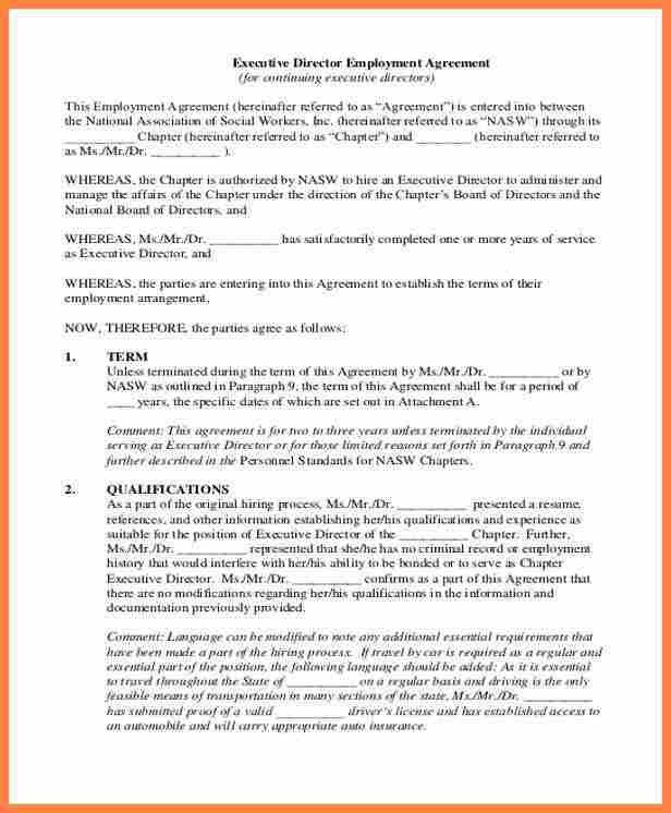 Sample Executive Agreement. Executive Agreement Example 9 Best ...