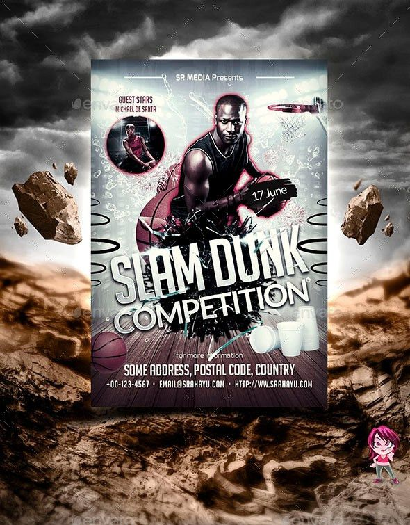 Slam Dunk Competition Flyer Template by SRahayu | GraphicRiver