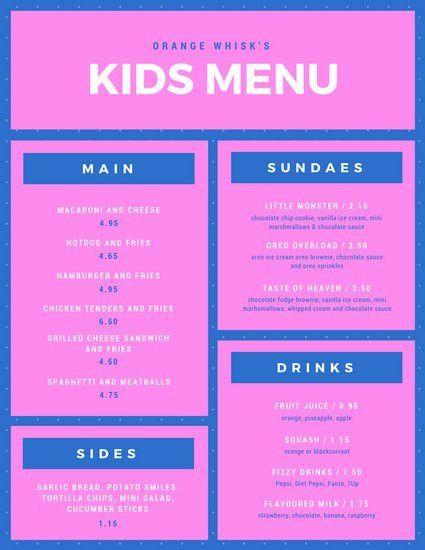 Kids Menus Templates. kids menu templates canva. free menu ...