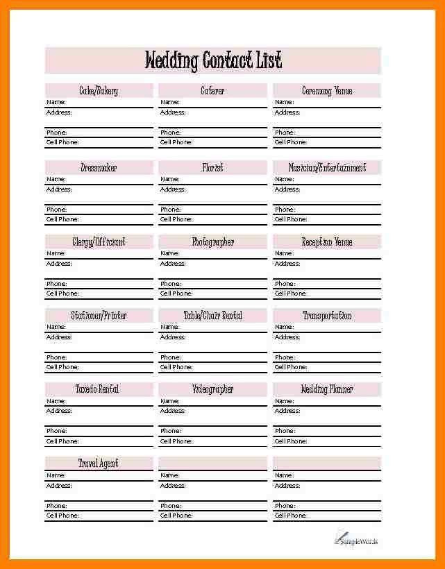 4+ free printable wedding planner templates | packaging clerks