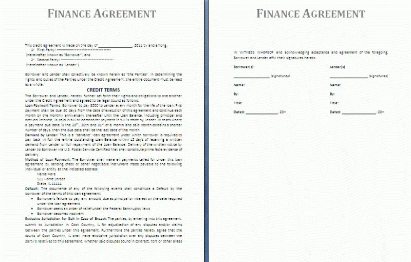 Finance Agreement Template | Free Agreement Templates