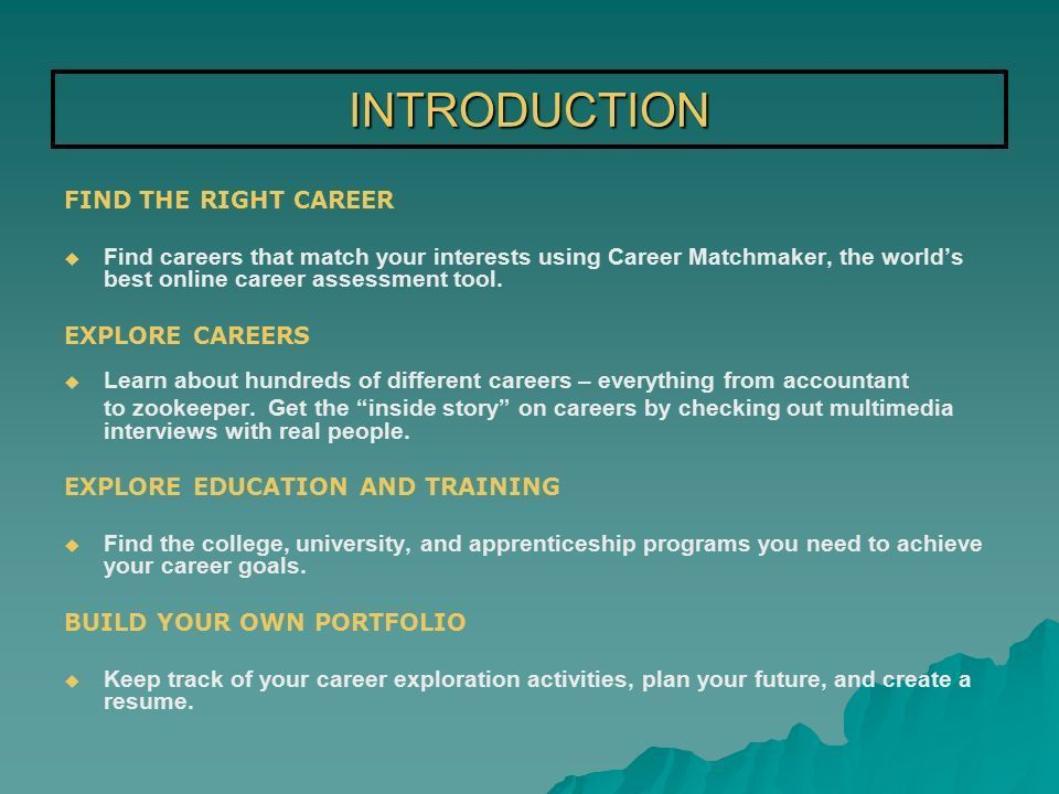 AN EASY-TO-USE SYSTEM THAT WILL HELP YOU CHOOSE A CAREER BASED ON ...